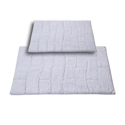 """Brooks 2 Piece 100% Cotton New Tile Spray Latex Bath Rug Set Size: 24"""" H X 17"""" W and 30"""" H X 20"""" W, Color: White"""