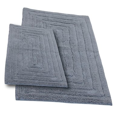 """Irving 2 Piece 100% Cotton Racetrack Spray Latex Bath Rug Set Size: 30"""" H X 20"""" W and 40"""" H X 24"""" W, Color: Silver"""