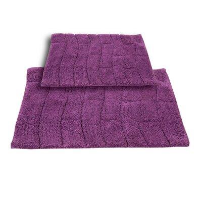 "Brooks 2 Piece 100% Cotton New Tile Spray Latex Bath Rug Set Size: 24"" H X 17"" W and 34"" H X 21"" W, Color: Aubergine"
