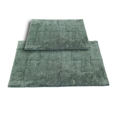 """Brooks 2 Piece 100% Cotton New Tile Spray Latex Bath Rug Set Size: 24"""" H X 17"""" W and 30"""" H X 20"""" W, Color: Green"""