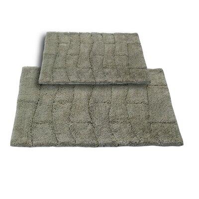 "Brooks 2 Piece 100% Cotton New Tile Spray Latex Bath Rug Set Size: 24"" H X 17"" W and 30"" H X 20"" W, Color: Light Sage"