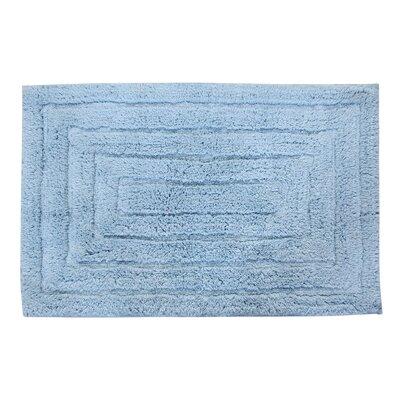 "Irving 100% Cotton Racetrack Spray Latex Back Bath Rug Size: 24"" H X 17"" W, Color: Light Blue"