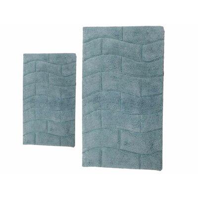 "Brooks 2 Piece 100% Cotton New Tile Spray Latex Bath Rug Set Size: 24"" H X 17"" W and 30"" H X 20"" W, Color: Light Blue"