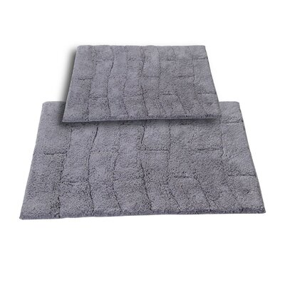 """Brooks 2 Piece 100% Cotton New Tile Spray Latex Bath Rug Set Size: 24"""" H X 17"""" W and 30"""" H X 20"""" W, Color: Silver"""