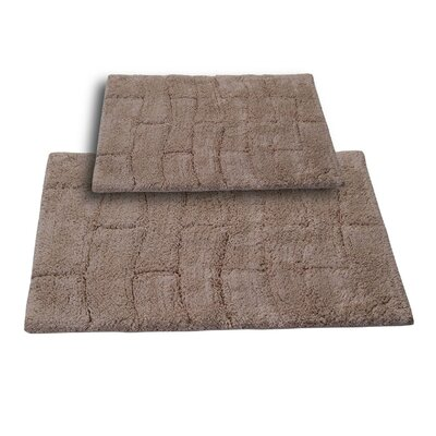 """Brooks 2 Piece 100% Cotton New Tile Spray Latex Bath Rug Set Color: Natural, Size: 24"""" H X 17"""" W and 34"""" H X 21"""" W"""