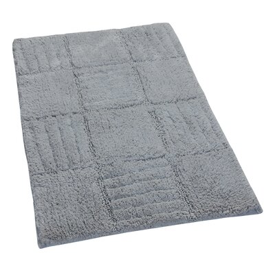 "Nathen 100% Cotton Chakkar Board Spray Latex Back Bath Rug Color: Silver, Size: 40"" H X 24"" W"