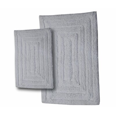 """Irving 2 Piece 100% Cotton Racetrack Spray Latex Bath Rug Set Size: 30"""" H X 20"""" W and 40"""" H X 24"""" W, Color: White"""