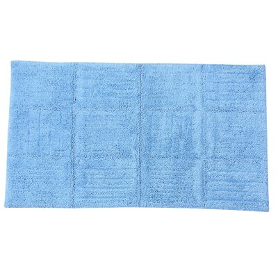 "Nathen 100% Cotton Chakkar Board Spray Latex Back Bath Rug Color: Light Blue, Size: 30"" H X 20"" W"