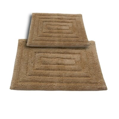 """Irving 2 Piece 100% Cotton Racetrack Spray Latex Bath Rug Set Size: 30"""" H X 20"""" W and 40"""" H X 24"""" W, Color: Taupe"""