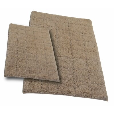 """Tanner 2 Piece 100% Cotton Summer Tile Spray Latex Bath Rug Set Size: 24"""" H X 17"""" W and 30"""" H X 20"""" W, Color: Natural"""