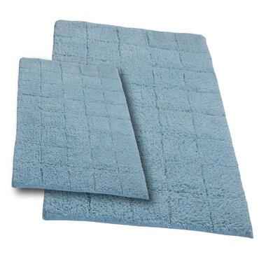 "Tanner 2 Piece 100% Cotton Summer Tile Spray Latex Bath Rug Set Size: 24"" H X 17"" W and 30"" H X 20"" W, Color: Light Blue"