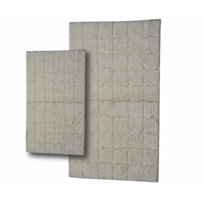 """Tanner 2 Piece 100% Cotton Summer Tile Spray Latex Bath Rug Set Size: 24"""" H X 17"""" W and 30"""" H X 20"""" W, Color: Ivory"""