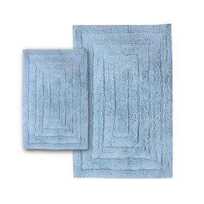 "Irving 2 Piece 100% Cotton Racetrack Spray Latex Bath Rug Set Size: 30"" H X 20"" W and 40"" H X 24"" W, Color: Light Blue"