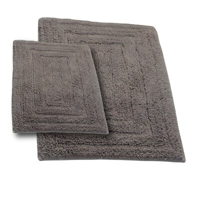 """Irving 2 Piece 100% Cotton Racetrack Spray Latex Bath Rug Set Size: 30"""" H X 20"""" W and 40"""" H X 24"""" W, Color: Stone"""