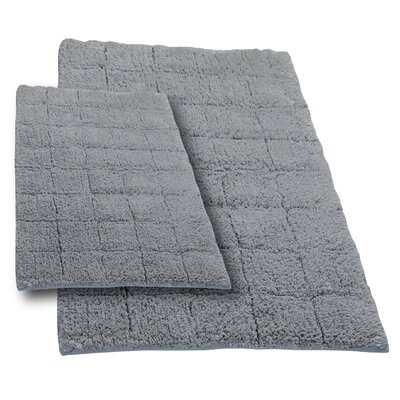"""Tanner 2 Piece 100% Cotton Summer Tile Spray Latex Bath Rug Set Size: 24"""" H X 17"""" W and 30"""" H X 20"""" W, Color: Silver"""