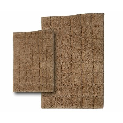 """Tanner 2 Piece 100% Cotton Summer Tile Spray Latex Bath Rug Set Size: 30"""" H X 20"""" W and 40"""" H X 24"""" W, Color: Taupe"""