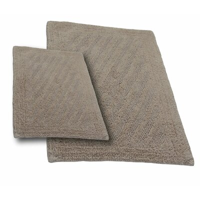 """Verne 2 Piece 100% Cotton Shooting Star Reversible Bath Rug Set Color: Natural, Size: 24"""" H X 17"""" W and 34"""" H X 21"""" W"""