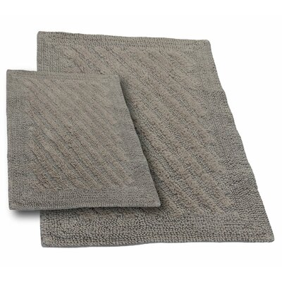 """Verne 2 Piece 100% Cotton Shooting Star Reversible Bath Rug Set Color: Stone, Size: 24"""" H X 17"""" W and 30"""" H X 20"""" W"""
