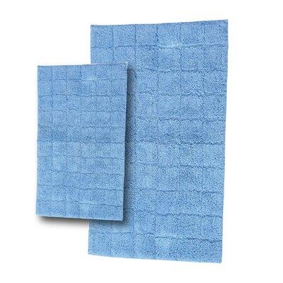 "Tanner 2 Piece 100% Cotton Summer Tile Spray Latex Bath Rug Set Size: 30"" H X 20"" W and 40"" H X 24"" W, Color: Medium Blue"