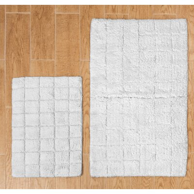 """Tanner 2 Piece 100% Cotton Summer Tile Spray Latex Bath Rug Set Size: 24"""" H X 17"""" W and 30"""" H X 20"""" W, Color: White"""