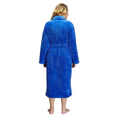Geneve Women's Shawl Soft Touch Plush Bathrobe Size: Small, Color: Royal Blue