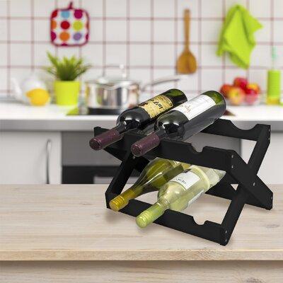 6 Bottle Tabletop Wine Rack Finish: Black