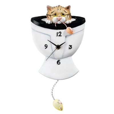 Enesco Comic and Curious Cats Down the Pan Wall Clock
