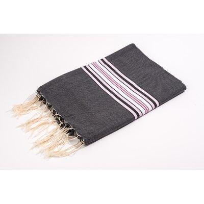 Fouta Bayadere 100% Cotton Bath Towel Color: Black