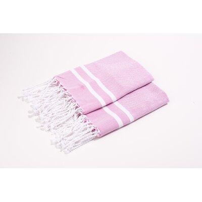 Herringbone 100% Cotton Hand Towel Color: Pink