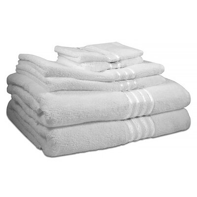 6 Piece 100% Cotton Towel Set Color: White