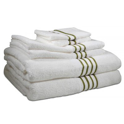 6 Piece 100% Cotton Towel Set Color: Palm Tree Green