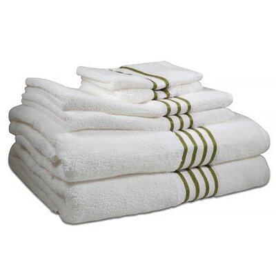 6 Piece 100% Cotton Towel Set Color: Palm Tree Green