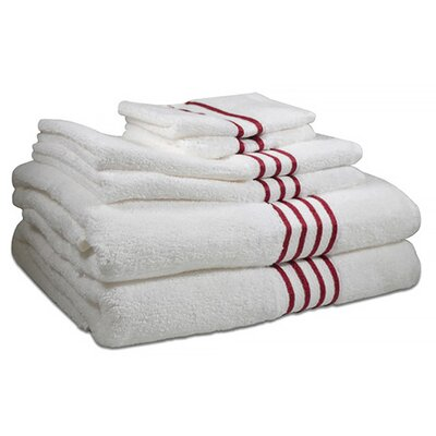 6 Piece 100% Cotton Towel Set Color: Berry