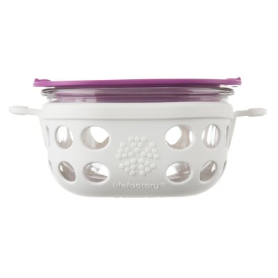 Glass 8 Oz. Food Storage Container Color: Optic White/Huckleberry