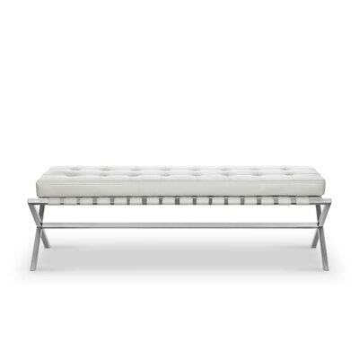Joiner Faux Leather Bench Color: White