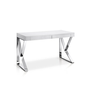 Lorne Writing Desk Top Finish: White High Gloss, Base Finish: Stainless Steel