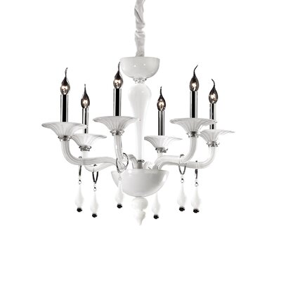 Ideal Lux Miramare 6 Light Candle Chandelier