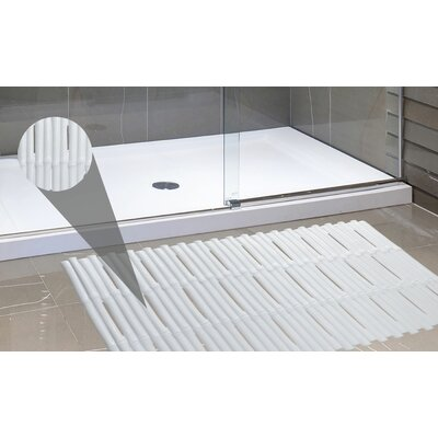 Bamboo Look Vinyl Bath Rug Color: White