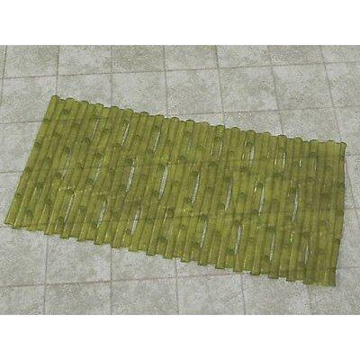 Bamboo Look Vinyl Bath Rug Color: Green