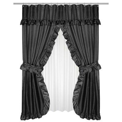 Parish Double Swag Shower Curtain Color: Black