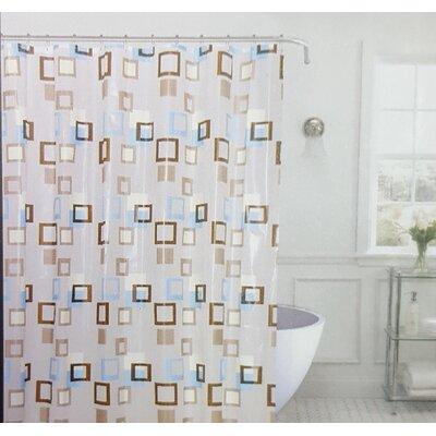 Kaeden Metro Squares Vinyl Shower Curtain Set Color: Brown