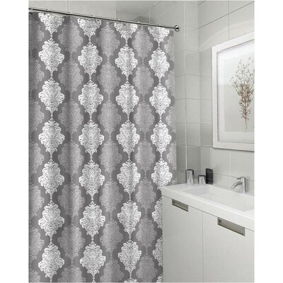 Miramontes Bath Shades of Damask Fabric Shower Curtain