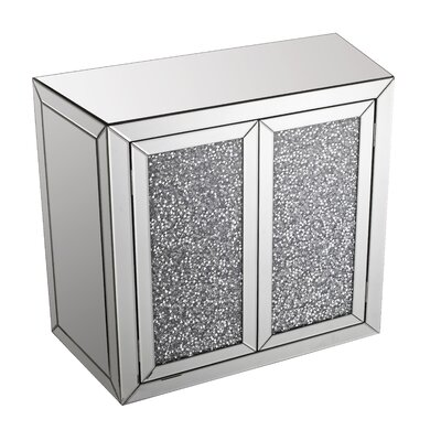 2 Door Crystal Mirrored Accent Cabinet