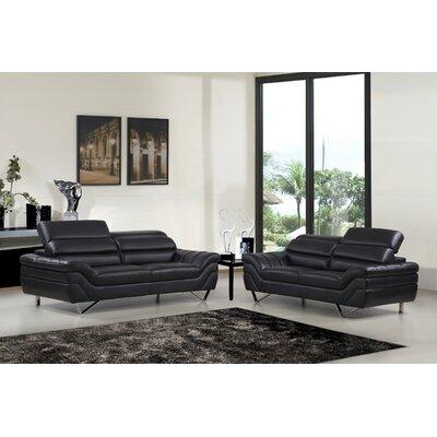 2 Piece Living Room Set Upholstery: Black