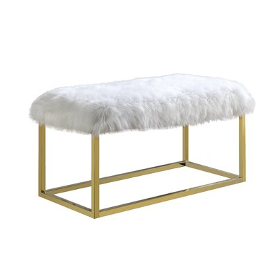 Hargett Metal Bench Color: Gold, Upholstery: White