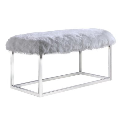 Hargett Metal Bench Color: Silver, Upholstery: White