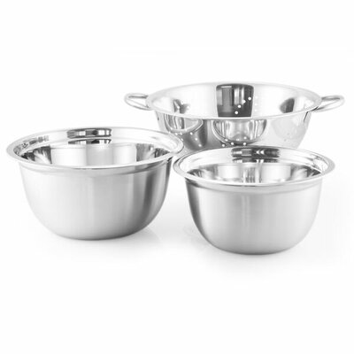 3 Piece Stainless Steel Bowl and Colander Set Size: 3QT Bowl, 5QT Bowl, and 5QT Colander