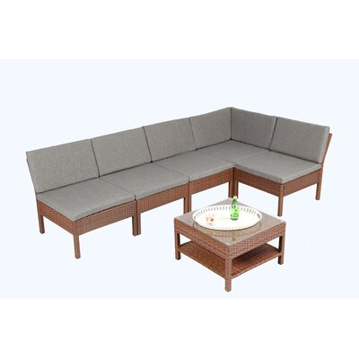 Spiaggia 6 Piece Sectional Set with Cushions Color: Brown