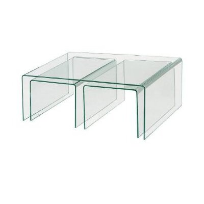3 Piece Clear Bent Glass Nesting Tables