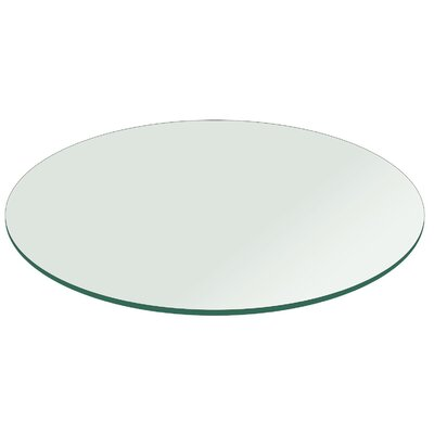 "Round Flat Polished Tempered Glass Table Top Size: 72"" L X 72"" W"